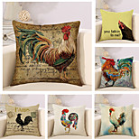 Set Of 6 Creative Oil Painting Cock Printing Pillow Cover Classic Cotton/Linen Pillow Case