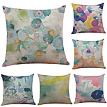 Set of 6 Color Graffiti Pattern Linen Pillowcase Sofa Home Decor Cushion Cover  Throw Pillow Case (18*18inch)