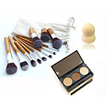 11pcs Bamboo Makeup Brush &3 Color Eyebrow Powder &Small Non-latex Gourd Shape Puff