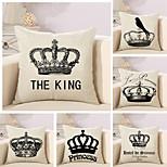 Set Of 6 Retro Tiaras & Crowns Printing Pillow Case 45*45Cm Sofa Pillow Cover