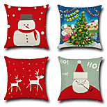 Set Of 4 Merry Christmas Design Reindeer Snowman Pillow Cover Cotton/Linen Creative Pillow Case 45*45Cm Cushion Cover