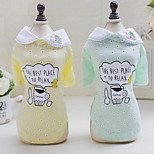 Other Shirt / T-Shirt Dog Clothes Cute Casual/Daily Letter & Number Green Yellow
