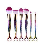 6pcs Colorful Double Fish Tail Makeup Brush Set Blush Brush Eyeshadow Eyeliner Brush Eyelash Brush dyeing Brush Powder Brush Sponge Synthetic Hair