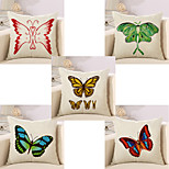 Set Of 5 3D Butterfly Printing Pillow Cover 45*45Cm Sofa Cushion Cover Linen Pillow Case