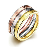 Concise Mixed Color Titanium Steel Eternity 3 in 1 Band Wedding Ring SetJewellery for Women Accessiories