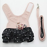 Harness Leash Adjustable Solid Polka Dot Lace Fabric