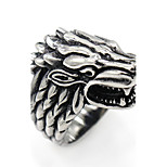 Animal Design Stainless Steel Ring Wolf Jewelry For Halloween Gift Daily Casual Christmas Gifts 1 pc