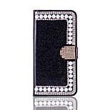Pour iphone 7 7 plus housses porte-cartes porte-monnaie strass rhinestone avec repose-papillon étui plein corps brillant brillant dur pu