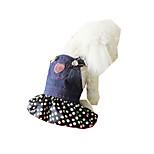 Собака Плащи Одежда для собак ковбой На каждый день Горох Черный/Белый