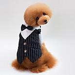Кошка Собака Плащи Толстовка смокинг пояс/Бабочка Одежда для собак Для вечеринки Косплей На каждый день Свадьба Полоски Черный Синий