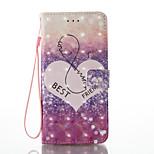 Pour iphone 7 plus 7 effet 3d type d'amour type pu matériel portefeuille section téléphone casque 6 plus 6s 5 se