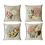 Set Of 4 Mediterranean Style Conch Pillow Cover Classic Cotton/Linen Pillow Case