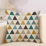 1 Pcs Colorful Triangular Lattice Printing Pillow Cover Classic Cotton/Linen Cushion Cover Pillowcase 45*45Cm