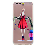 For Huawei P10 P10 Lite Phone Case Red Skirt Girl Pattern Soft TPU Material Phone Case P10 Plus P8 Lite (2017)