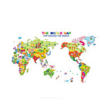 Fulll Color World Map Wall Stickers Many Buildings DIY Vinyl Wall Decals Adesivo De Parede Animals PVC Home Decor For Kids Room