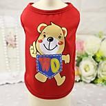 Кошка Собака Футболка Жилет Одежда для собак На каждый день Животные Красный Синий Розовый
