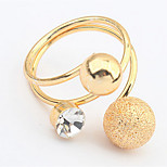 Bohemian Rhinestone Metal Ball Ring Women's Party Adjustable Ring Statement Jewelry