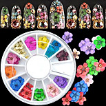Top Quality 36pcs 3D Nail Art Sticker Dried Flower DIY Tips Acrylic Decoration Wheel
