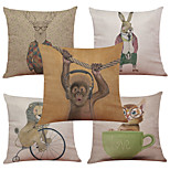 Set of 5 Cartoon Monkey Pattern  Linen Pillowcase Sofa Home Decor Cushion Cover (18*18inch)