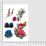 Temporary Tattoos Chest Body Flower Series 3D Waterproof Tattoos Stickers Non Toxic Glitter Large Fake Tattoo Body Jewelry  Halloween Gift 22*15cm