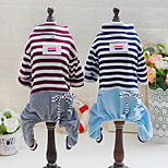 Other Clothes/Jumpsuit Dog Clothes Cute Casual/Daily Stripe Blue Brown
