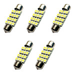 5PCS Double Pointed LED Lights 36MM 1.5W 16SMD 3528 Chip 80-100LM White 6500-7000K DC12V Reading Light  License Plate Lights