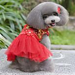 Собака Платья Одежда для собак Свадьба Цветочные/ботанический Лиловый Красный Синий Розовый