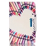 For Apple iPad 4 3 2 Case Cover Pencil Love Pattern PU Skin Material Apple Flat Protective Shell