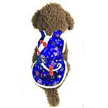 Собака Жилет Одежда для собак Новый год Цветочные/ботанический Красный Синий