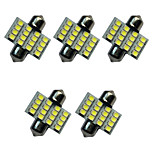 5PCS Car Festoon Dome Lamp 31MM 1.5W 16SMD 3528 Chip 80-100LM White 6500-7000K DC12V Reading Light  License Plate Lights