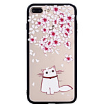 Назначение iPhone 8 iPhone 8 Plus Чехлы панели Матовое С узором Задняя крышка Кейс для Кот Цветы Твердый PC для Apple iPhone 8 Plus