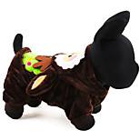 Собака Костюмы Одежда для собак Косплей Рождество Сплошной цвет Коричневый Красный