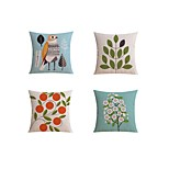 4 pcs Linen Pillow case Bed Pillow Body Pillow Travel Pillow Sofa CushionArtistic Pattern Abstract Nature Inspired Casual Pastoral