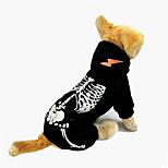 Собака Комбинезоны Одежда для собак Хэллоуин Черепа Черный Красный