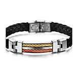 Titanium steel woven leather bracelet unisex fashion and personality