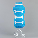 Dog Sweater Dog Clothes Casual/Daily Bone Blushing Pink Blue