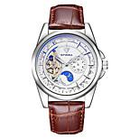 Муж. Часы со скелетом Механические часы Японский С автоподзаводом Фосфоресцирующий Кожа Группа Коричневый