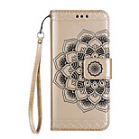 Case For Huawei P8 Lite (2017) P10 Lite Case Cover Half Flower Pattern Glossy Embossed PU Skin Material Card Stent Phone Case For P10 P10 Plus