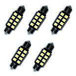5шт двойные заостренные светодиодные фонари 36мм 1w 8smd 2835 чип белый 80-100lm 6000-6500k dc12v canbus лампа для чтения