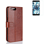 Case for One Plus 5 Cover Card Holder Wallet with Stand Flip Full Body Case Solid Color Hard PU Leather (with Full Screen Toughened Film 1Pc