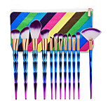 12 Pcs Bentuk Makeup  Set Dazzle Glitter Rainbow Makeup Eyeshadow Blending Yayasan Powder Makeup Brushes Kit