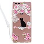 Case For Huawei P10 Lite P10 Cat Flower Pattern Acrylic Backplane and TPU Edge Materia Neck Lanyard P9 Lite P8 Lite 2017 P8 Lite
