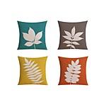 4 pcs Linen Pillow case Bed Pillow Body Pillow Travel Pillow Sofa Cushion,Botanical Pattern Fashion