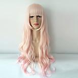 жен. Парики из искусственных волос Без шапочки-основы Средний Волнистые Розовый Парики для косплей Карнавальные парики
