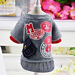 Dog Coat Sweatshirt Dog Clothes Casual/Daily Fashion Letter & Number Ruby Gray