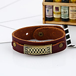 All-Match Retro Geometric Alloy Fittings Leather Bracelet