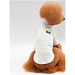 Собака Футболка Одежда для собак На каждый день Сплошной цвет Белый Серый Красный Розовый