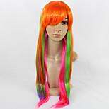 жен. Парики из искусственных волос Без шапочки-основы Средний Прямые Оранжевый Парики для косплей Карнавальные парики