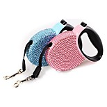 Pet Retractable Leash Blue Pink Rhinestone Bling Crystal Dog Puppy Pet Lead Leash 3M Flat Line