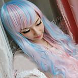 жен. Парики из искусственных волос Без шапочки-основы Длиный Волнистые Синий Парики для косплей Карнавальные парики